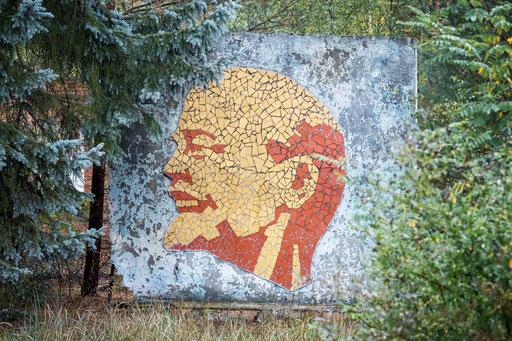Lenin-Mosaik auf einer ehemaligen Kaserne