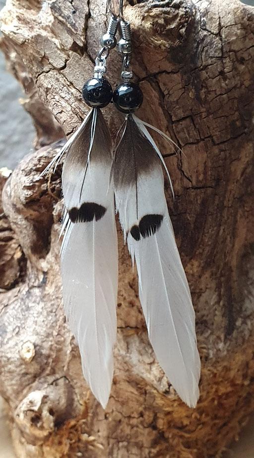 Boucle d'oreille plume de pie et faisan