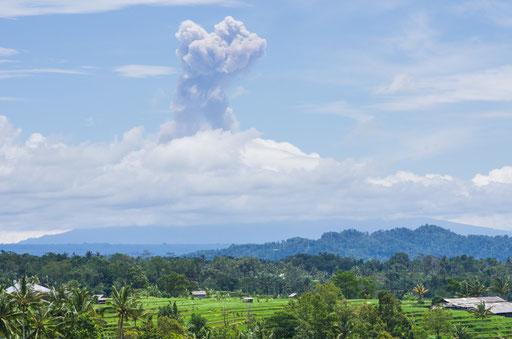 Jatiluwih et mont Agung crachant sa fumée