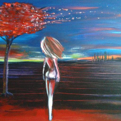 Red Blossom, acryl op canvas, ca 2016, verkocht