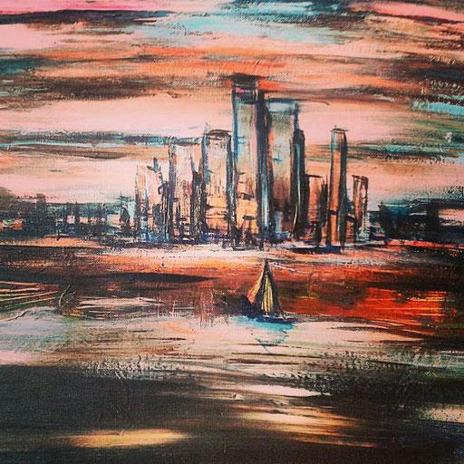 Cityscape, acryl op canvas, ca 2016, verkocht
