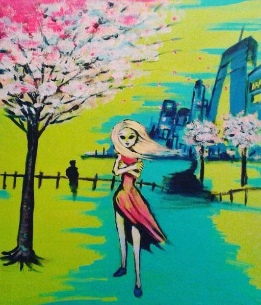 Pink Blossom, acryl op canvas, ca 2015, verkocht