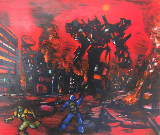 Attack!, acryl op canvas, ca 2016, €200