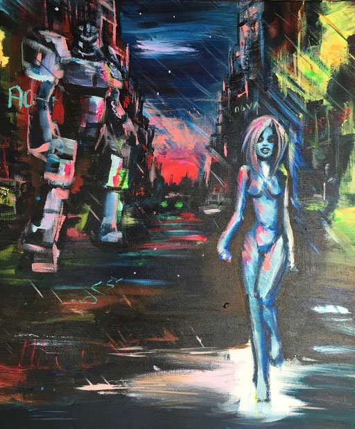 Dark Alley, acryl op canvas, ca 2017, €250