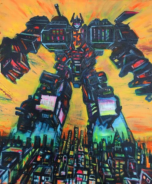 Robot, acryl op canvas, ca 2017, €250