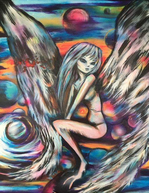 Serraphim, acryl op canvas, ca 2018, €2000