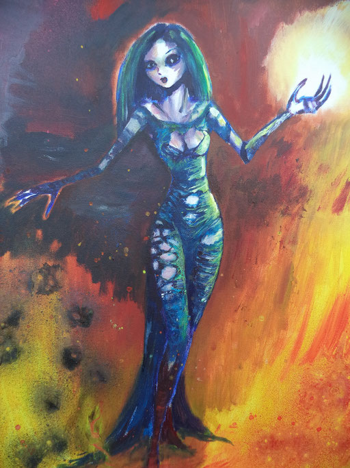 Fireball, acryl op canvas, ca 2015, verkocht