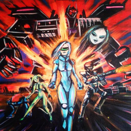 Teamwork, acryl op canvas, ca 2015, verkocht