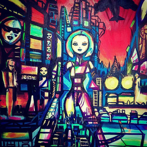 Neon Girl, acryl op canvas, ca 2017, €250