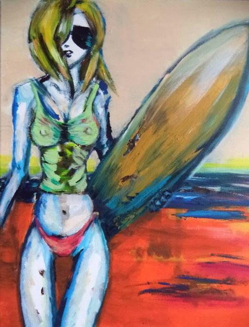 Surf's Up!, acryl op canvas, ca 2015, verkocht