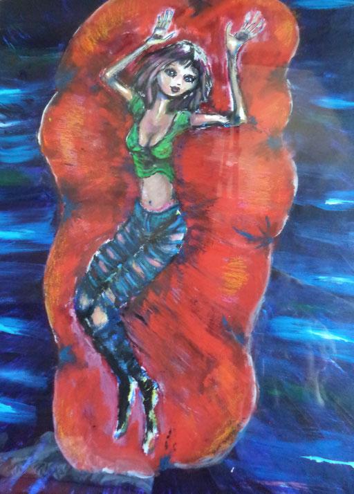 Float, acryl op papier, ca 2014, verkocht