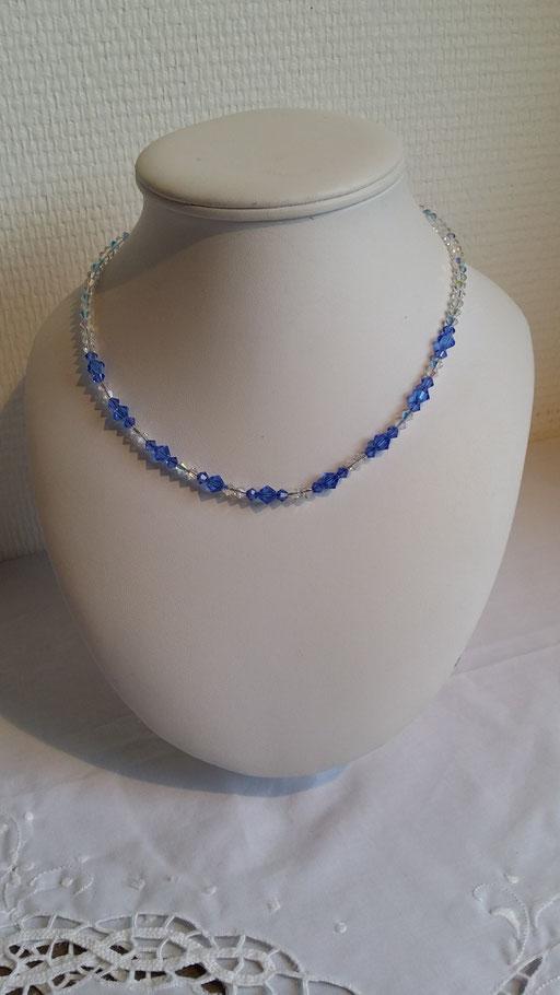 N° 7 Collier en  Cristal Swarovski bleu et blanc