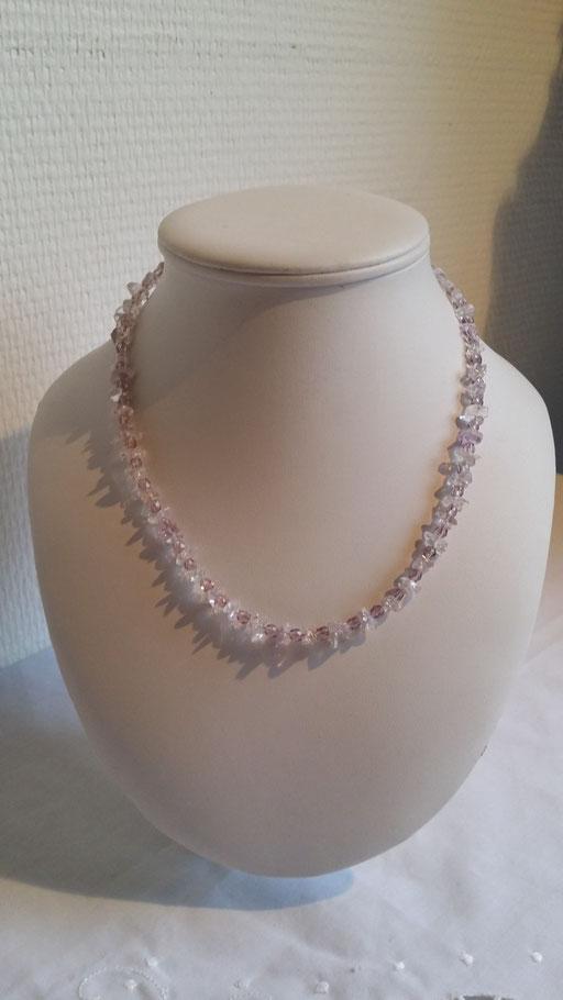 Collier Améthyste et perles en Cristal