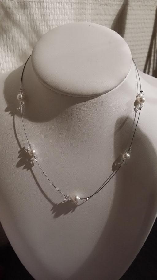 Collier en perles de Cristal blanc