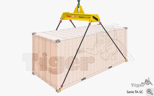 Containertraverse mit Überseecontainer