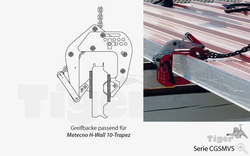 Sandwichklemme - Greifbacke passend für Metecno H-Wall 10-Trapez