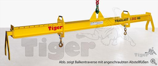 Anwendungsbeispiel: Balkentraverse Serie TAV mit 2 Stück Abstellfüßen Serie AFG am Kopfende der Traverse angeschraubt zum sicheren Abstellen der Krantraverse