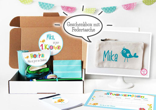 süße Geschenkidee - Federtasche inkl. Einschulungsbox mit Namen -nähfein