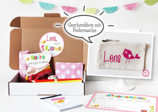 Geschenkidee - personalisiertre Federtasche mit Einschulungsbox
