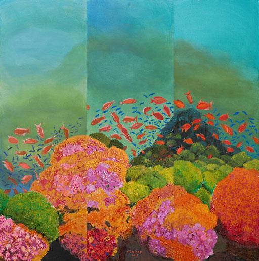 AQUARIUM - TRYPTICON - Neonacrylfarbe  auf Leinwand - 3 Leinwände a 120 cm x 40 cm