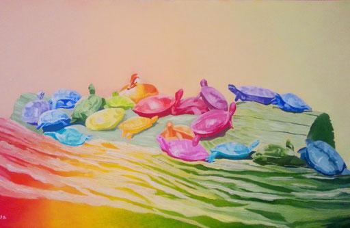 TURTLES AND DUCK - Acryl und Strukturpaste auf Leinwand - 120 cm x  70 cm