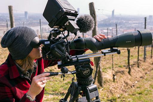 Mario Kreuzer bei Dreharbeiten in Wien |Große Teile der Aufnahmen wurden in Verbindung mit einem Swarovski Optik Teleskop angefertigt
