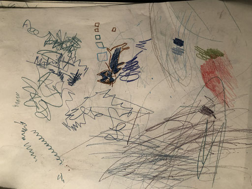 drawings by Oto (15 months old) and Sae (age unknown)
