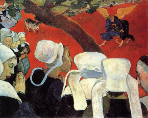 Painting;- 'Vision After the Sermon'  by Paul Gauguin