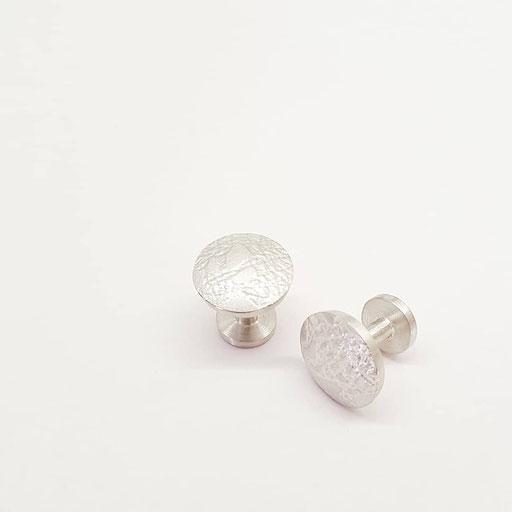 Maschettenknöpfe mit eingewalzter Spitze des Brautkleides / 925 Ag