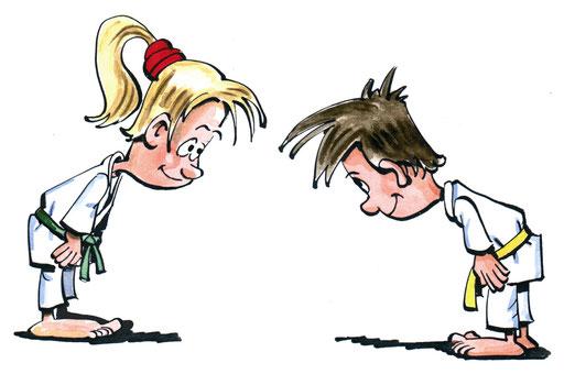 Höflichkeit: Behandle deine Trainingspartner und Wettkampfgegner wie Freunde. Zeige deinen Respekt gegenüber jedem Judo-Übenden durch eine ordentliche Verbeugung.