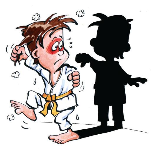 Selbstbeherrschung: Achte auf Pünktlichkeit und Disziplin bei Training und Wettkampf. Verliere auf der Matte nie die Beherrschung, auch nicht bei Situationen, die du als unfair empfindest.