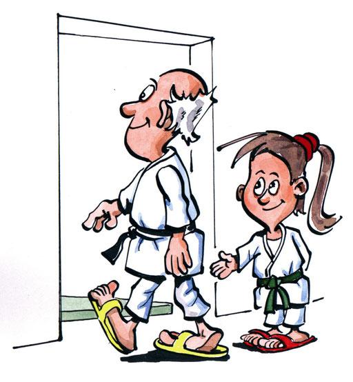 Respekt: Begegne deinem Lehrer/deiner Lehrerin und den Trainingsälteren zuvorkommend. Erkenne die Leistungen derjenigen an, die schon vor Deiner Zeit Judo betrieben haben.