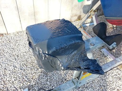 Wrapping du treuil avec sac poubelle + décapeur thermique...