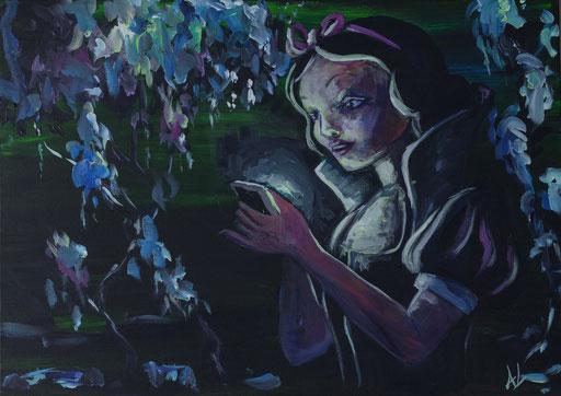 'Smartwittchen', Acryl auf Leinwand, 30 x 50, 2017