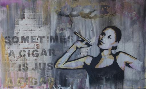 'Nur eine Zigarre', Mischtechnik auf Leinwand 70 x 130, 2017