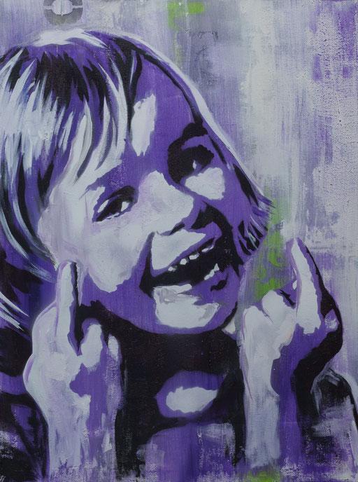 'Sticky Fingers', Mischtechnik auf Leinwand, 30 x 50, 2017