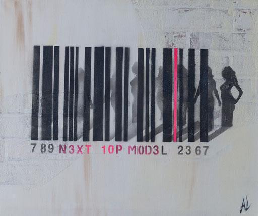 'Topmodel', Mischtechnik auf Leinwand, 30 x 50, 2017