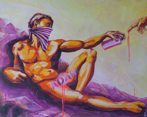 'Die Ersch(l)affung Adams', Acryl auf MDF, 100 x 120, 2017