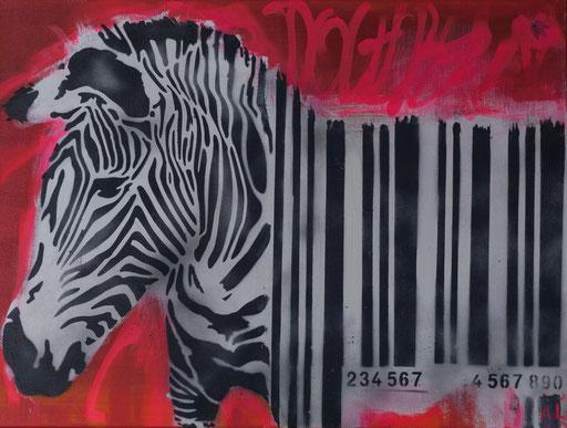 'Barcode-Zebra', Mischtechnik auf Leinwand, 40 x 60, 2017