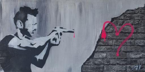 'Amor reloaded', Mischtechnik auf Holz, 120 x 60, 2017