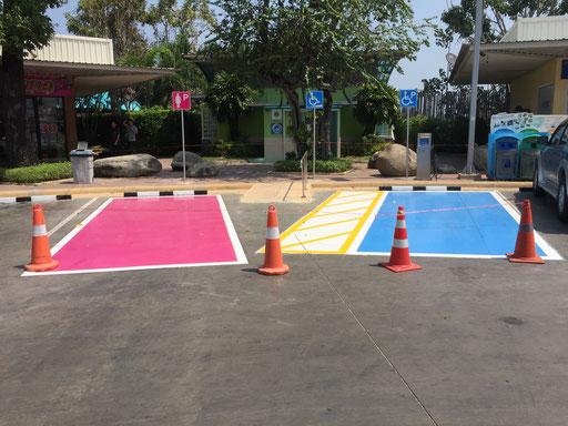 Individuelle Parkplatzmarkierung für Frauen und Menschen mit einer körperlichen Beeinträchtigung
