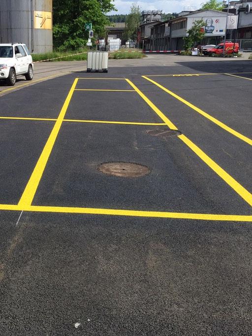 Strassenmarkierung, Arealmarkierung eines Parkfeldes für PW