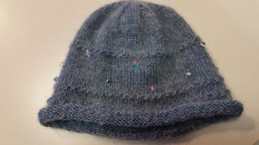 Mütze aus Alpaca und Kid Mohair mit eingestrickten Swarovski Elements