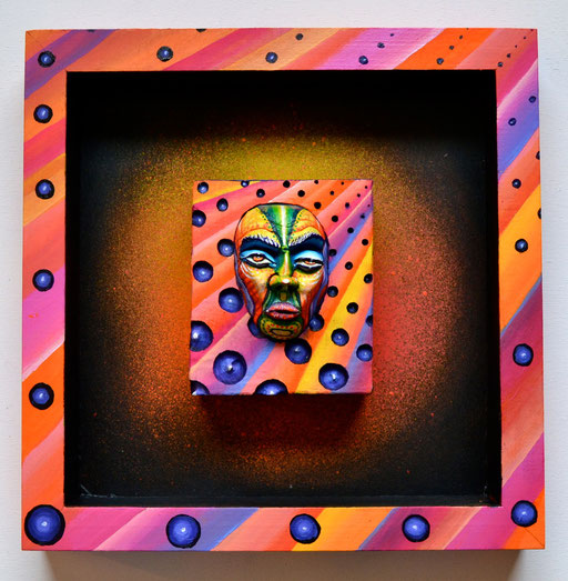 """Sunset"" By Shalak Attack, 3D mixed media on wood, 2013, Canada   (Original available through the ONLINE STORE)"