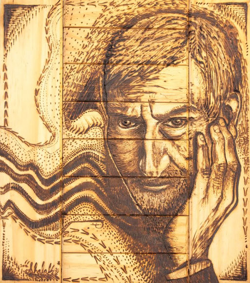 """El Pensador"" by Shalak. Pirografo (Wood burning technique)  2011, Brazil    (Private Collection - Canada)"