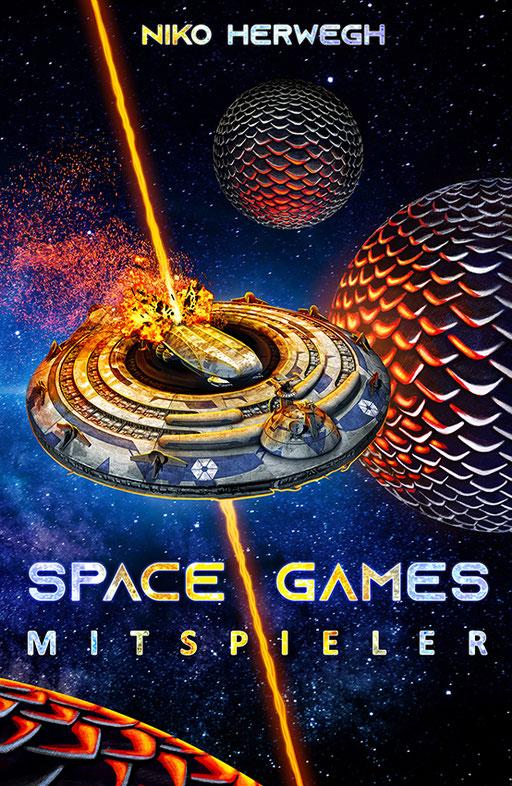 """exklusives  Science Fiction Buchcover """"Space Games - Mitspieler"""" von Niko Herwegh"""
