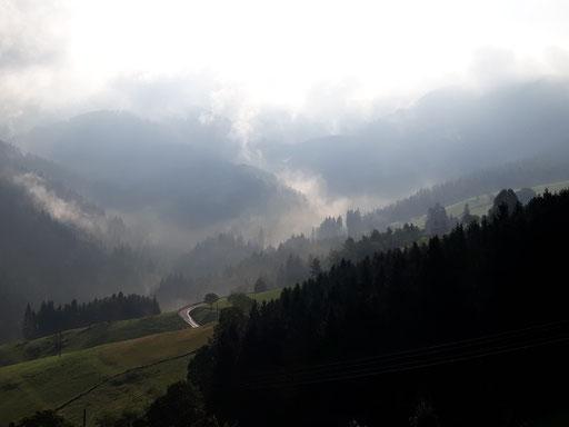 Die Sonne durchdringt den Nebel