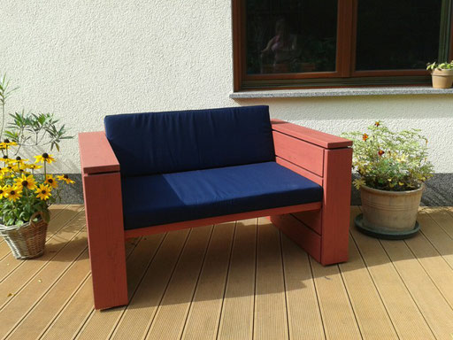 Lounge Sessel XL, Transparent Geölt Rot