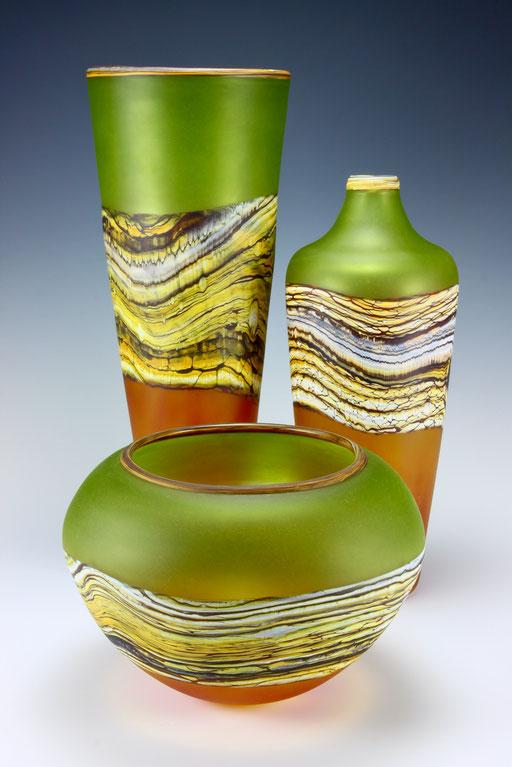 Translucent Lime & Tangerine Strata Vessels