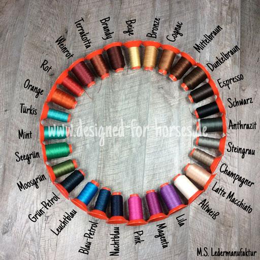 Zu jeder Garnfarbe gibt es farblich passendes Nappaleder